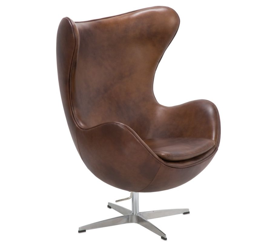 SILLON EGG CHAIR PIEL MARRON