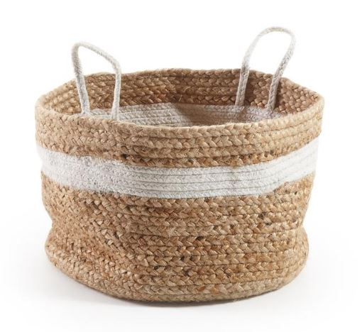 CESTA JUTE NATURAL BLANCO