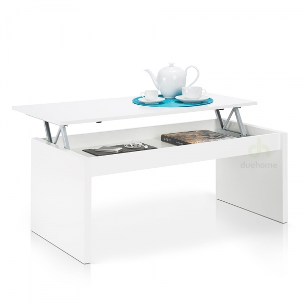 MESA DE CENTRO ELEVABLE BLANCO BRILLO