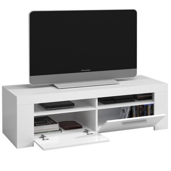 MESA DE TV BLANCO BRILLO