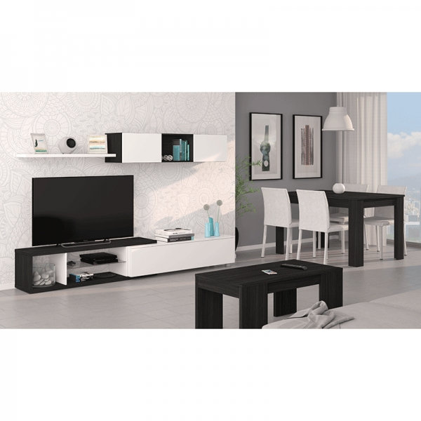 mueble salon blanco brillo y gris ceniza en