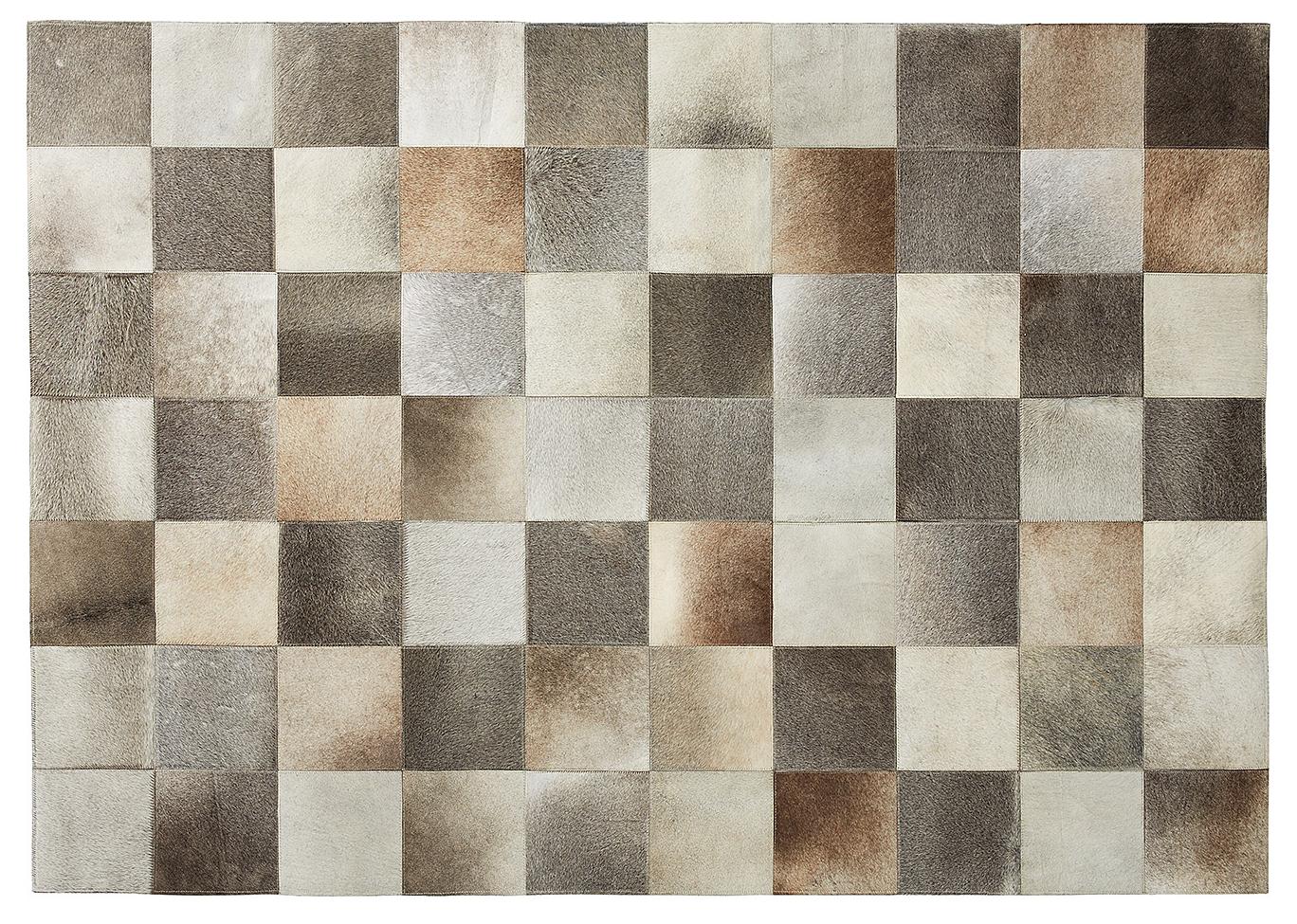 alfombra chess de piel en patchwork en