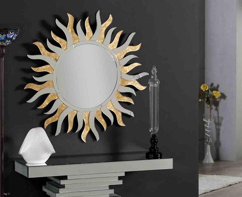Espejo sol dorado en for Espejos decorativos dorados