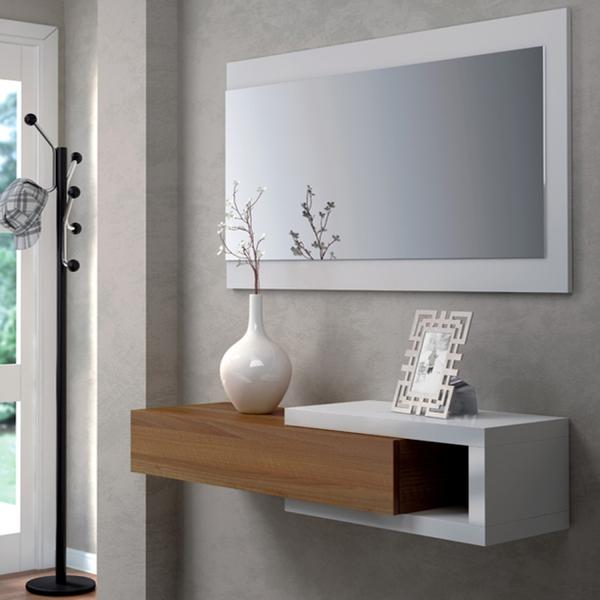 Recibidor espejo walnut en for Espejos decorativos blancos