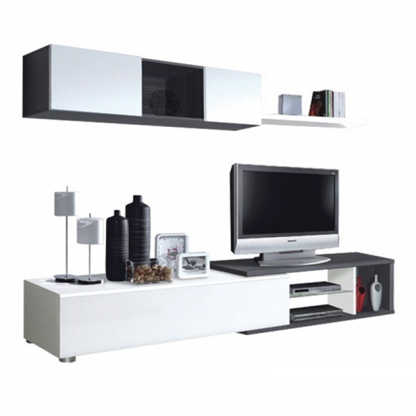 Mueble salon blanco brillo y gris ceniza en for Muebles salon gris ceniza y blanco