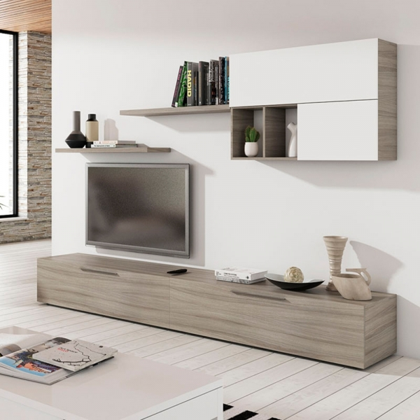 Mueble salon nature y blanco brillo en for Muebles salon lacados blanco brillo