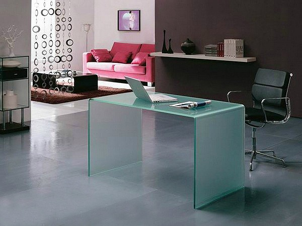 mesa escritorio cristal curvado blanco 126x70 cm burano en On mesa escritorio cristal