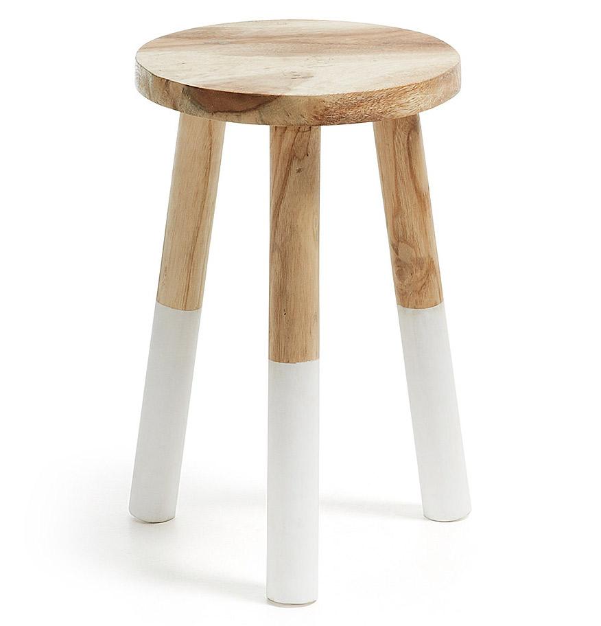 Taburete munggur de madera en for Taburetes de madera